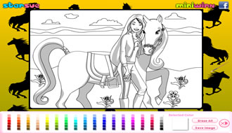 Barbie and Horse Coloring