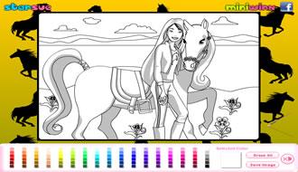 Kleurplaten Van Paarden Spelletjes.Barbie En Pony Kleurplaat Barbie Spelletjes